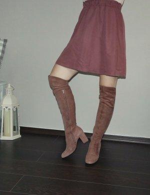 Over Knees Wildleder braun 37,5 8cm Blockabsatz Stiefel