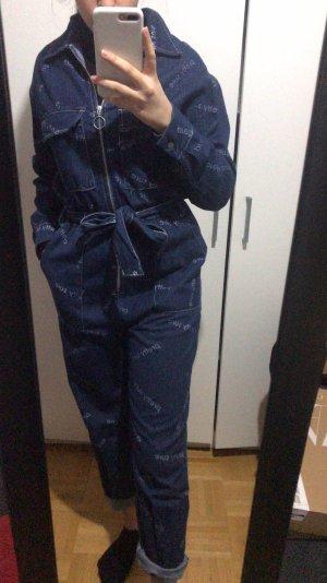 Overall Anzug Karneval blau Einteiler jumpsuit langarm chillig S