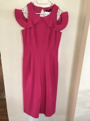 Comma Vestido de un hombro rojo frambuesa Poliéster