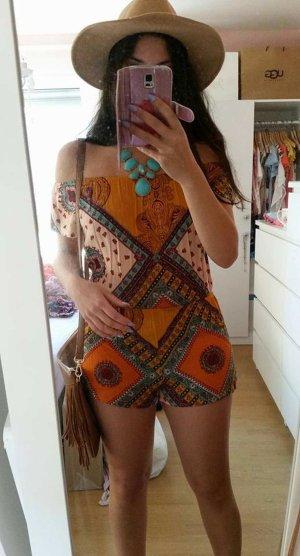 Overall Jumpsuit mint gelb XS/S vintage blogger hipster boho off shoulder