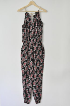 Overall Jumpsuit Viskose Paisley-Muster schwarz rot onesize (passend für 36 / 38)