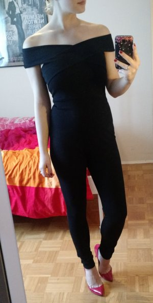Overall Missguided Gr. 36 38 S schwarz Jumpsuit playsuit lang blogger catsuit