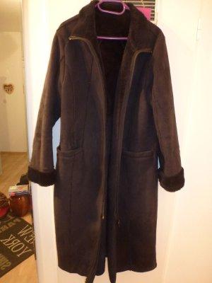 Overcoats project & design Mantel Gr L schwarz inn. Kunstfell auß. Veloursstoff