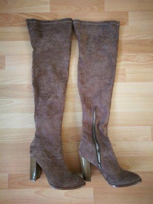 Even & Odd Overknees grey brown-light brown
