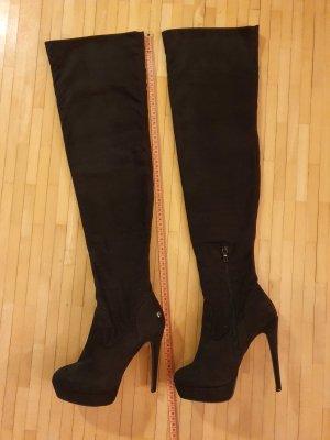 Overknee Stiefel - 14cm Absatz - Wildleder optik - sehr bequem