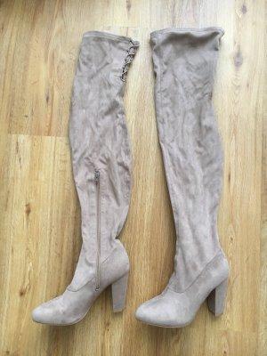 Overknee Stiefel 39,5 beige nude Hellbraun