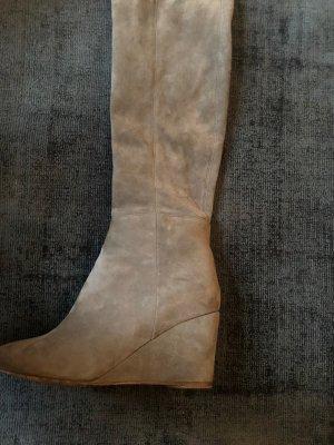 Overknee Stiefel 39 beige-grau wedge-Absatz