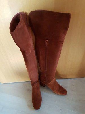Overknee Stiefel aus braun/rotem Wildleder *neu*