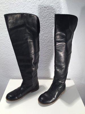 Overknee Stiefel aus schwarzem Leder Gr.37