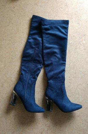 Daisy Street Overknees steel blue