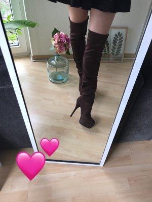 Kniehoge laarzen bruin-donkerbruin