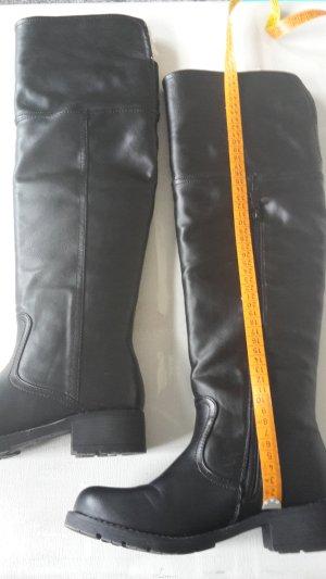 Overknees black imitation leather