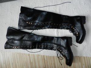 Kniehoge laarzen zwart Imitatie leer