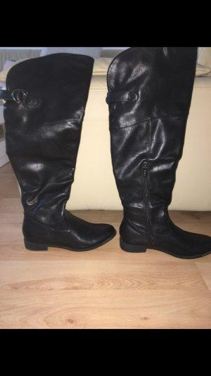 Botas sobre la rodilla negro-gris claro