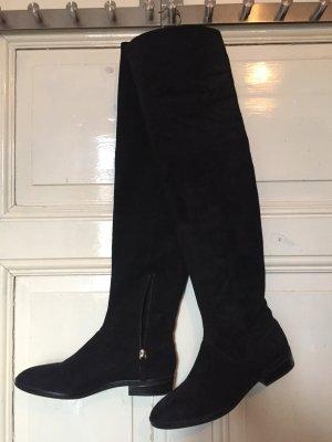 Zara Basic Botas sobre la rodilla negro Gamuza