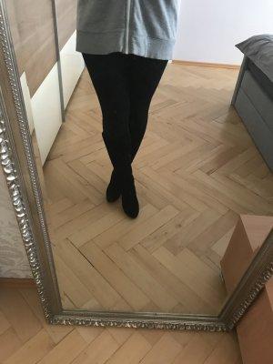 Overknee-Stiefel schwarz Wildleder