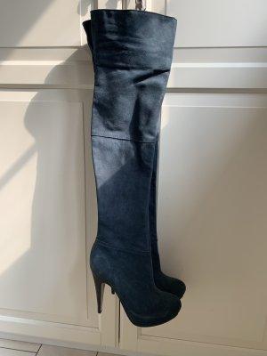 Buffalo Kniehoge laarzen donkerblauw