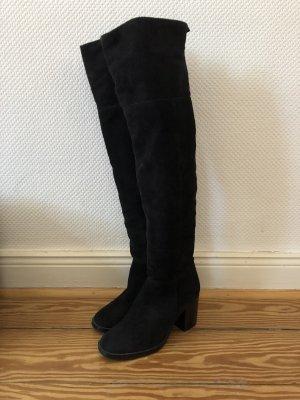 Overknee Stiefel von COX in schwarzem Wildleder, 37