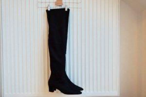 Zara Botas sobre la rodilla negro Imitación de cuero