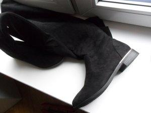 Overknee Stiefel, Wildlederoptik,schwarz,Gr.39, Schlupfstiefel ,auch für kräftigere Waden, krempelbar, Blockabsatz, 1x kurz getragen
