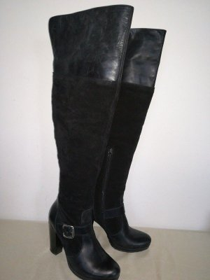 Overknees echt Wildleder Plateau Gr.37 Absatz 10,5cm schwarz Stiefel UK 4