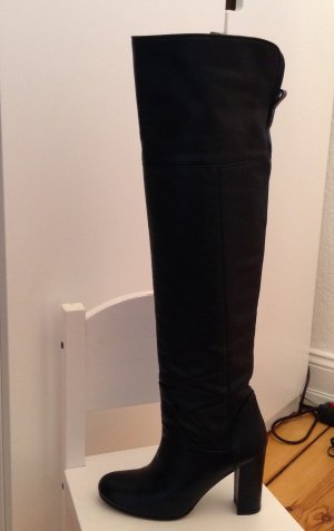Overknees Hohe Stiefel Schwarz Komplett aus Leder wie NEU