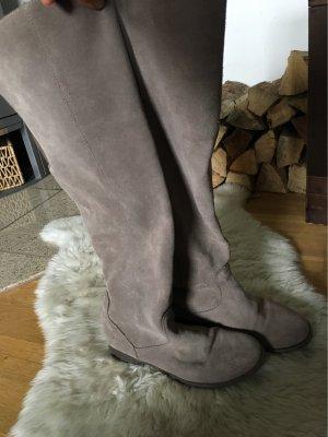 Janet D Kniehoge laarzen grijs-bruin