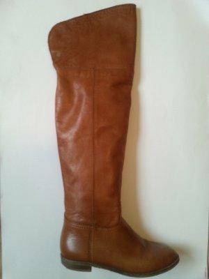 Overknees beige leather