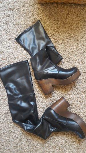 Kniehoge laarzen zwart Gemengd weefsel