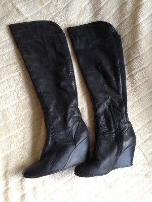 Overknees mit Keilabsatz Stiefel Damenschuhe Reisverschluß Leder Gr. 39