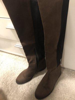H&M Overknees brown-black