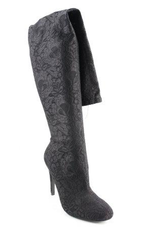 Overknees black floral pattern elegant