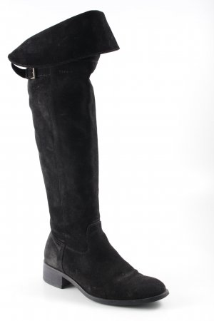Kniehoge laarzen zwart straat-mode uitstraling