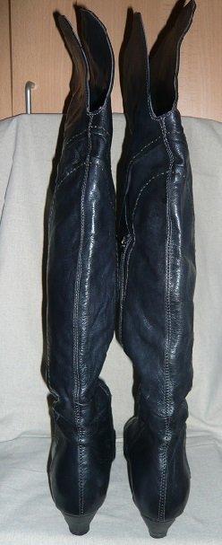 Cuissarde bleu foncé-noir cuir
