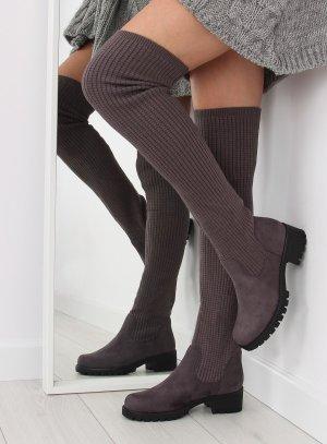 """Overknees Stiefel Langschaft Stretch Stiefeletten 6820-PG Schaftstiefel Absatz Stiefel Kniehoch Damen Schuhe Boots Herbst aus Stretch für schlanke und """"kräftigere"""" Beine Größe 38 39 40 41"""