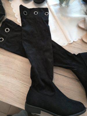 Queentina Kniehoge laarzen zwart