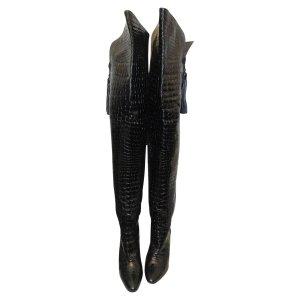 Yves Saint Laurent Stivale cuissard nero Pelle