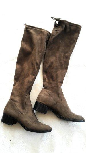 Zara Kniehoge laarzen bruin-donkerbruin