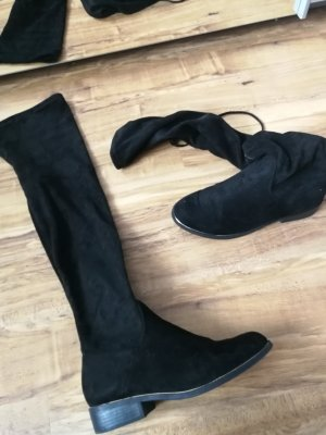 New Look Overknees black suede