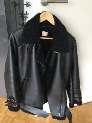 Oversized Jacket black imitation leather