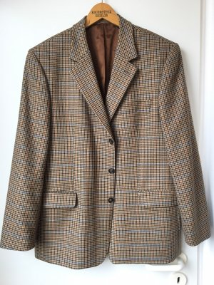 Oversize Blazer Vintage Beige Khaki Braun Karo Kariert Trench Mantel