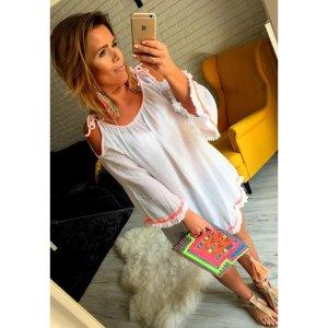 Oversize Blogger Bluse Tunika Top Shirt Minikleid Neon Bommel passt L-XXL