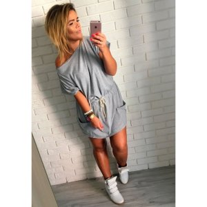 Oversize Blogger Sweatkleid Minikleid schulterfrei Carmen Minikleid L-XXL