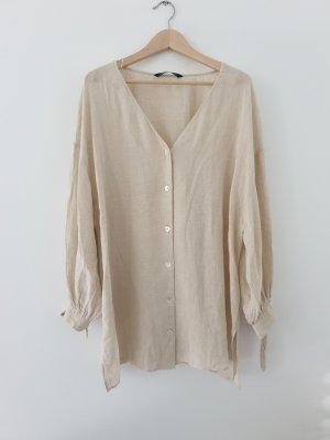 Oversize Bluse aus Baumwolle und Leinen, Gr. M