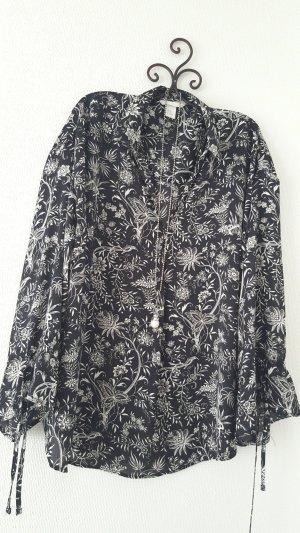 H&M Blouse oversized noir-blanc polyester