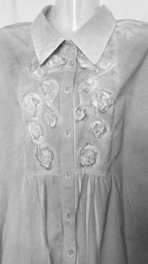 Blusa ancha gris claro-blanco Algodón