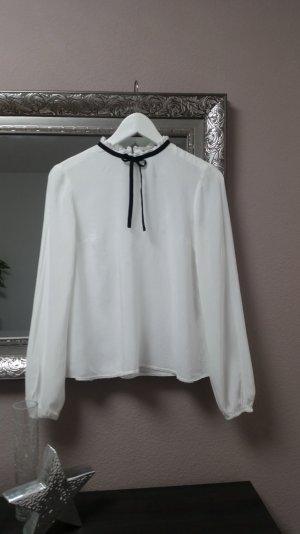 Oversize Bluse mit Schleife und Stehkragen Weiß Schwarz Gr. 34 36