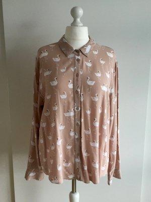 Oversize Bluse mit Schwanenprint