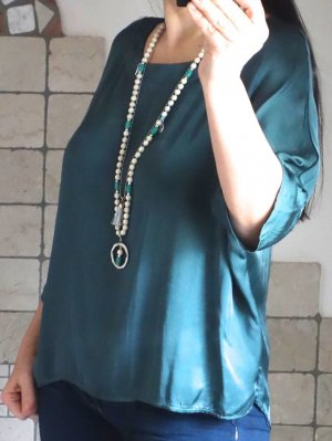 Made in Italy Oversized blouse bos Groen-cadet blauw Viscose