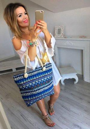 Oversize Bluse Stern / Star Gold Tunika weiß  Fischerhemd Hemd Top Shirt Sommer Blogger Einteiler passt bei M-XL